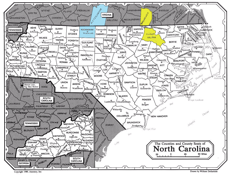 Pryor Families - virginia and north carolina map