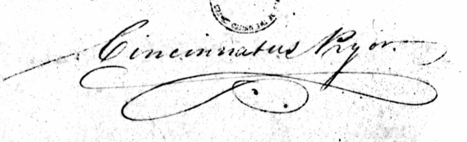 Cincinnatus Pryor signature